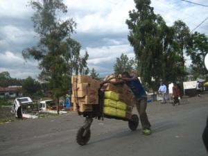 A man pushes his chukudu along the Sake road